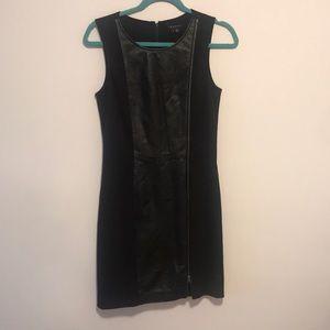 Theory leather side zipper dress sz 6 black
